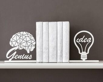 Genius idea bookends Brain art Geometric decor Book ends Light bulb Book shelf Girl boss Office decor Modern Bright idea - white