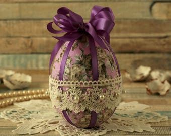 Easter eggs, Easter gift, Easter decorations, hanging egg, vintage Easter, spring ornament, fabric egg, lace ornament, purple, Easter tree