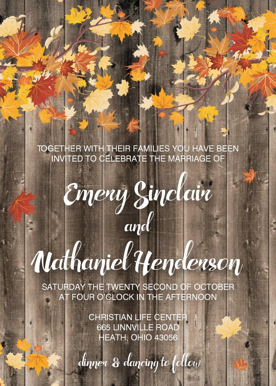 Autumn Wedding Invitation, Country Wedding Invitations, Fall Leaves ...