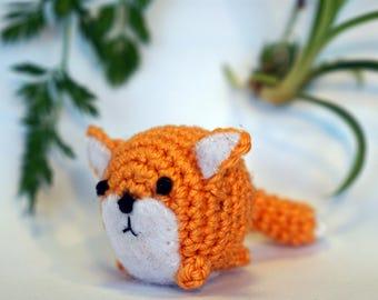 fox plushie keychain - crochet amigurumi