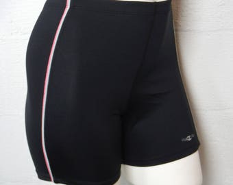 Vintage 90's Ladies Black Champion Spandex Workout Shorts Size L Made In The USA
