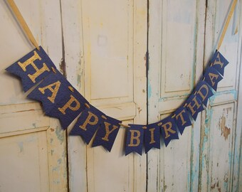 Happy Birthday Banner, Embossed Navy and Gold Banner, Womans Birthday Banner, Adult Birthday Decorations