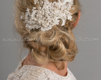 Bridal Lace Hair Comb, Pearl and Crystal Headpiece, Wedding Hair Accessory - Kenesha
