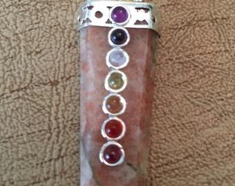 Sunstone Flat Pencil Chakra Pendant - Sacral Chakra - Reiki - Energy Healing
