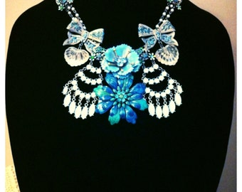 """Edwardian """"Turquoise of the Sea"""" Vintage Statement Necklace - OOAK - FREE SHIPPING!"""