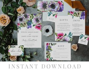Green Leaves Wedding Invitation Set INSTANT DOWNLOAD, Wedding Invite, DIY Printable Invite, Templett, Rustic Invites, , Anemone Prismo