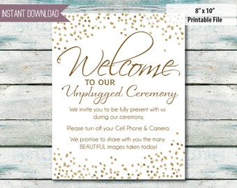 "Wedding sign Unplugged Wedding Sign 8""x10"" INSTANT DOWNLOAD No camera No cell phones Wedding ceremony unplug gold glitter"