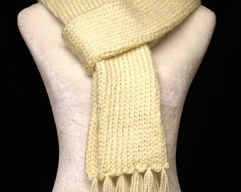 Handmade Knitted Scarf  Off-White