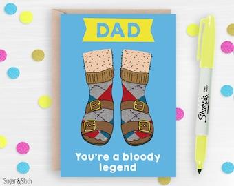 Funny Dad birthday card, funny birthday card for dad, socks and sandals card, card for dad funny, happy birthday dad card, father birthday
