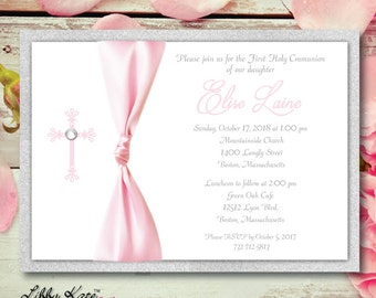 Girl First Communion Invitation Girl PInk and Silver