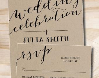 Rustic Script Celebrate Kraft paper Wedding Invitation Response Card Invitation Suite