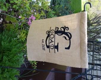CUSTOM Monogram Burlap Garden Flag, Monogrammed Burlap Flag, Personalized Gift, Monogrammed Home Decor