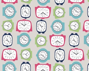 Gracie Girl Clock Fabric - Gray - Out Of Print Fabric