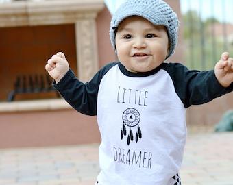 SALE - Little Dreamer - Kids Black Raglan Shirt - Black 3/4 Sleeve Baby Shirt - Hipster Baby Shirt - Hipster Toddler Shirt-Apparel