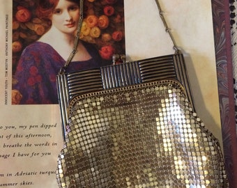 Vintage Antique 30s  Stunning Art Deco Whiting Davis Gold Metal Mesh Ladies  Purse EVening Bag Gift For Her