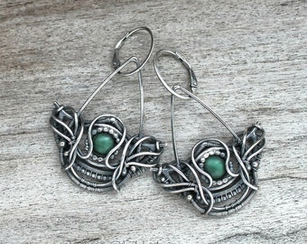 Sterling silver earrings with Malachite - Asas