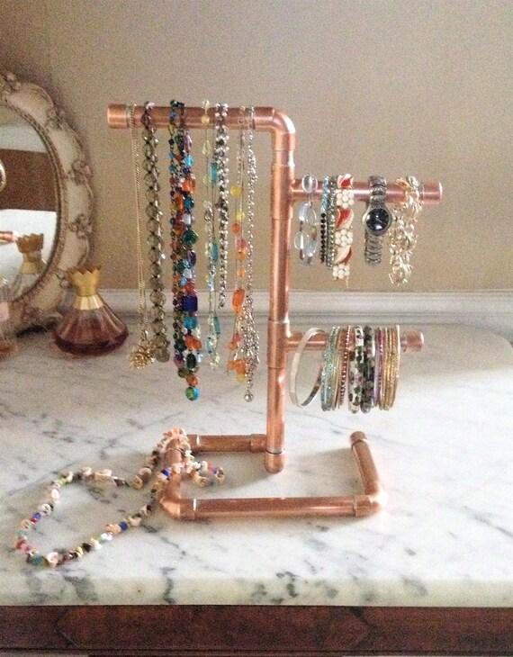 Copper Pipe Jewelry Tree Modern Jewelry Organizer Steampunk