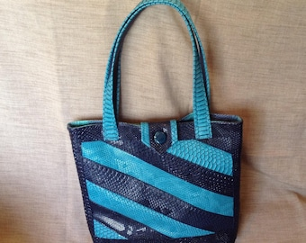 """""""Dragon"""" turquoise and Navy leather tote bag."""