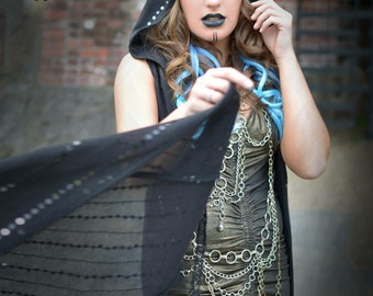 "SALE: Last One! The ""Sparkle Duster"" Long Sweater Vest with Hood in Black Onyx Sequin Knit by Opal Moon Designs (size M)"
