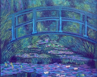 THE CLANDESTINE BRIDGE , Acrylic Painting [Monet Art, Landscape Art, Impressionist Art]