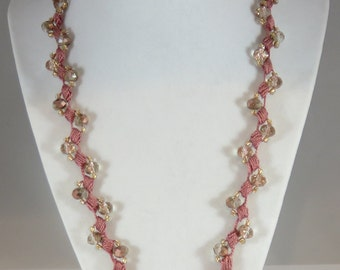 Rose pink Chinese crystal bead crochet necklace