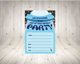 Blue UFO Party Invitation INSTANT PRINT