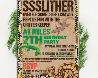 Slither Birthday Invitation, Creepy Crawly, Snake, Front, Lizard, Critter Keeper, Printable or Printed