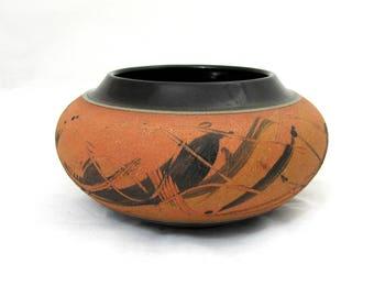 """Joyce Furney Pottery Bowl Vase - 3.5"""" x 6"""" - signed 1985"""