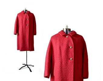 Red Coat 60s Coat Winter Coat  Mod Coat Wool Coat Medium Coat  Womens Clothing Coat Vintage Coat