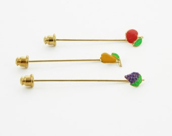 Fruit Stickpins Trio - Apple, Pear, Grapes
