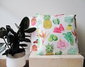 Tropical Cotton Cushion - to fit 45 - 50cm Square Couch Cushion Lounge Room Decor with Fruit Watercolour Illustrations