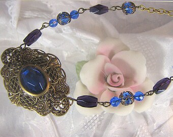 Vintage Style Brass Filigree Necklace With Blue and Amethyst Faceted Czech Glass Beads / Adjustable Necklace