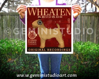 Wheaten Terrier dog Records graphic giclee signed artists print by Stephen Fowler