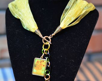 Van Gogh Sunflowers Necklace and Earring Set