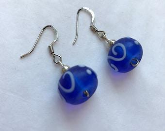 Royal Blue Glass Earring