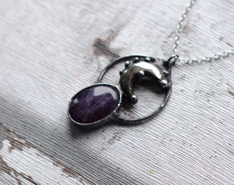 Amethyst and pyrite necklace    / nickel&lead free chain  /