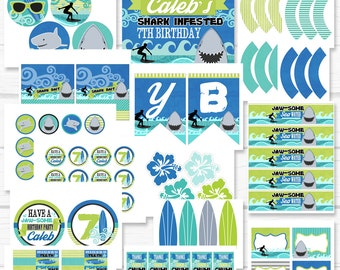 """Personalized Diy """"Sharks & Surfers"""" Birthday Party Digital Printable Party Package"""