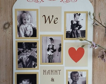 Personalised Hanging Photo Plaque For Nanny & Grandad
