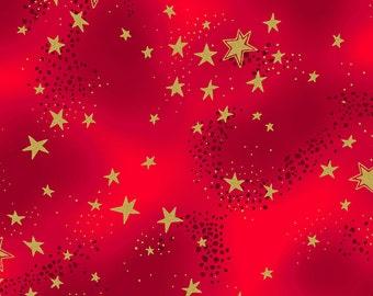 Laurel Burch Fabric Enchantment Red w/ Stars 1 Yard Y1965-4M