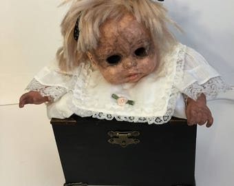 Seriously Creepy Moving Doll Head Nightlight 'Mallory' OOAK Antique Baby Doll