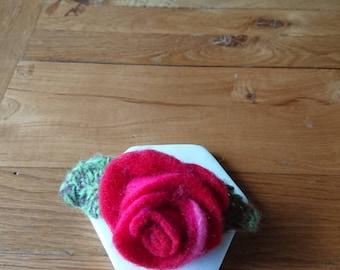 Felt Rose corsage. Brooch