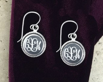 Round Sterling Silver Engraved Monogram Earrings with Rope Accent pictured Interlock Monogram Font 07952