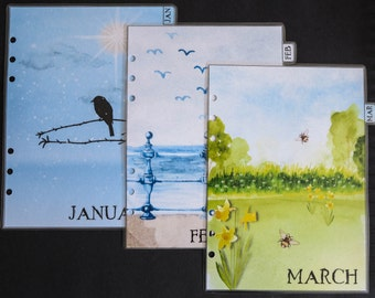 A5 size monthly dividers Jan-Dec