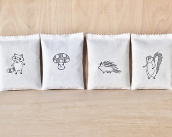 Woodland Baby Shower Hostess Gift, woodland animal lavender bags, woodland creatures scented sachets
