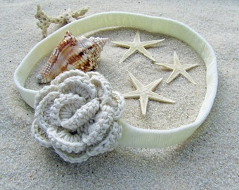 Crochet Camellia Headband in Vanilla // Cream Crochet Flower Infant Headband // Handmade Cream Flower Headband / Infant Photo Prop