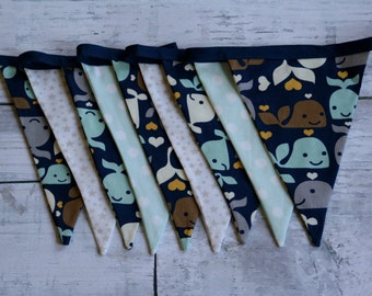 Whales, Light Stars, Pale Blue with White Dots Bunting Banner