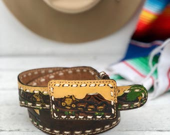 32 | Cattle Ranch Western Cowboy Landscape Tooled & Painted Leather Belt by Sheyenne