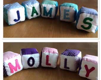 Personalised blocks toys for babies, toddlers and young children.