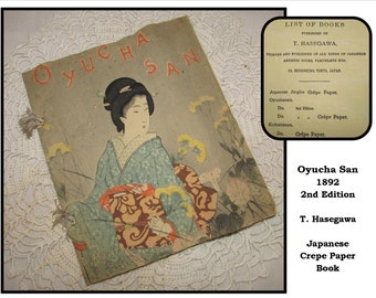 ANTIQUE Oyucha San Song Rosalie Japanese Crepe Paper Book, 1892, 2nd Edition, wood block