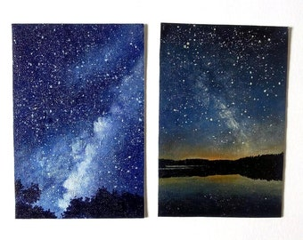 Hand-made paintings starry skies and Milky on cards, miniature paintings on cards